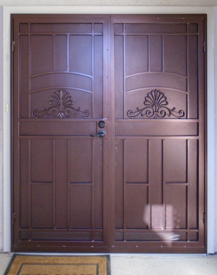 242 best images about wrought iron security doors on for Double screen doors