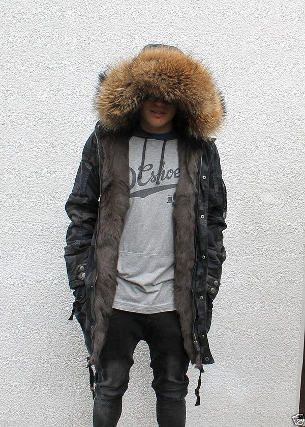 Parka Herren Pelzmantel men fur coat Куртка Мужчины moro/schwarz M | eBay