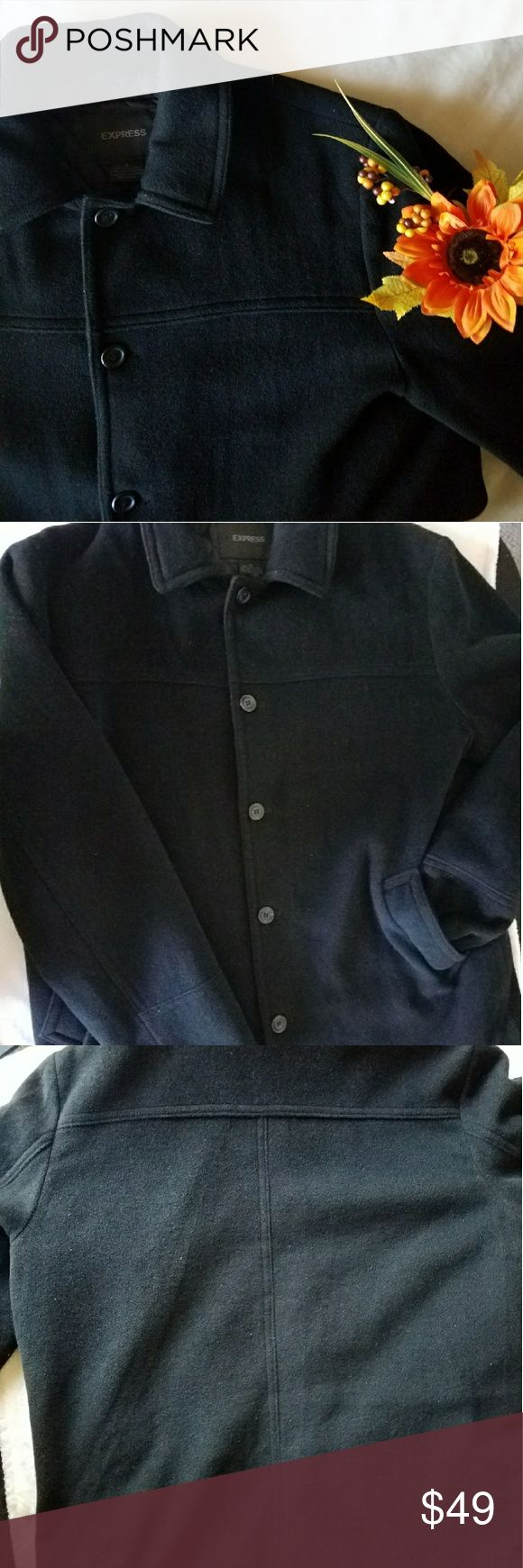 🌟 Express Men's Pea Coat 🌟 Brand New Without Tags!  Men's Express Pea Coat!  In EXCELLENT CONDITION!  Color is solid black! It is not faded. Lighting in picture may appear to show fading from excess lighting, but the color is pristine. Full black.  Perfect for upcoming winter to stay warm ❄  Size XL  Any questions, feel free to ask 😊 Express Jackets & Coats Pea Coats