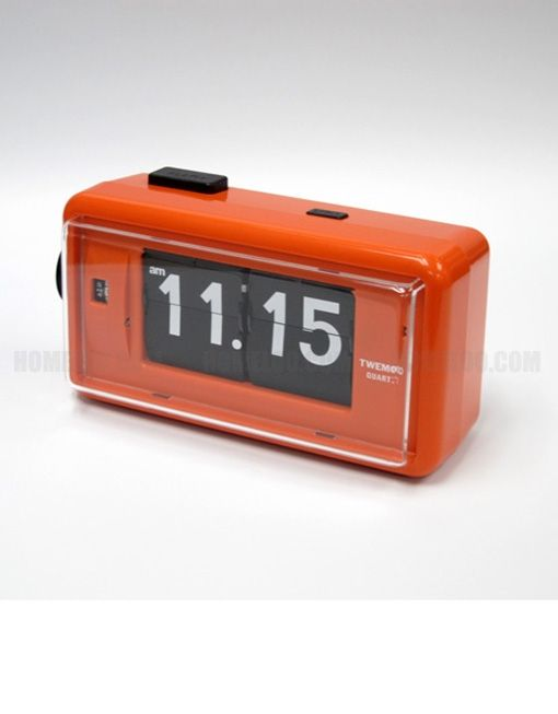 twemco alarm flip clock al30 orange germany movement made in hong kong retro flip clock. Black Bedroom Furniture Sets. Home Design Ideas