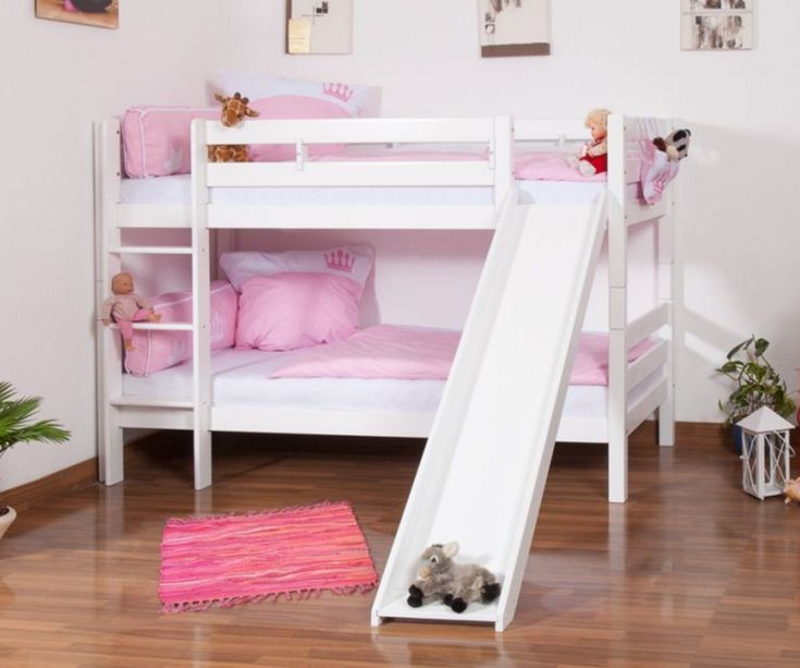 Olivia White Wooden Bunk Bed with Slide
