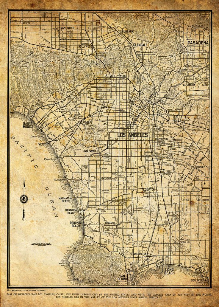 1944 Los Angeles City Street Map Vintage 13x19 Sepia Grunge Print Poster via Etsy.