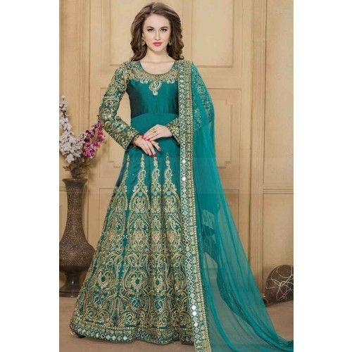 JADE BLUE TAFETA SILK ANARKALI SUIT Price - £113.00 #IndianDresses #ShoppingUK #PromDresses #AnarkaliSuitUK #ShopkundUK