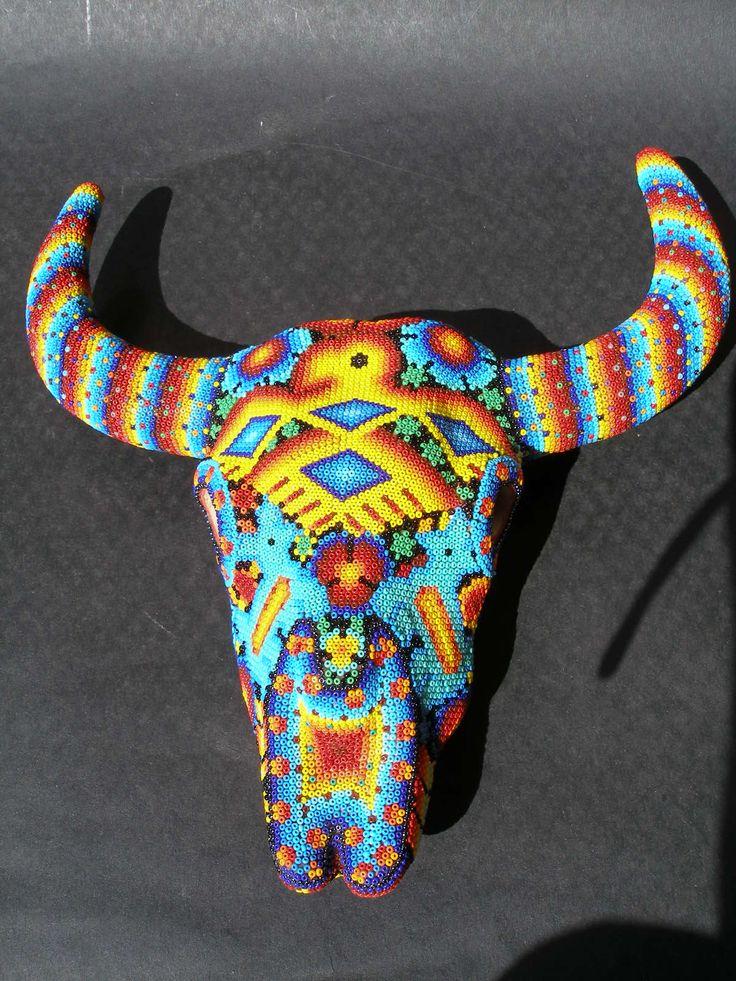 Huichol Clay Bull Skull