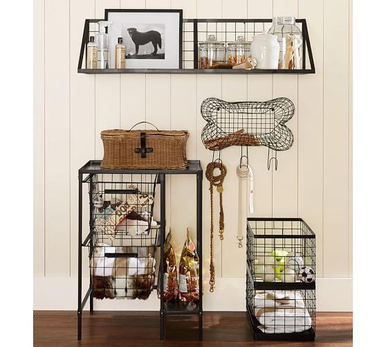 Estante de almacenamiento en alambre con forma de hueso / Wire Bone Storage / perros / dogs /decoración / decor / Pottery Barn /Mediterranean Natural