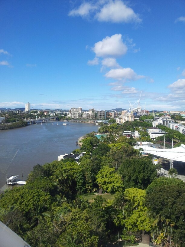 View of the brisbane river from the ferris wheel at southbank
