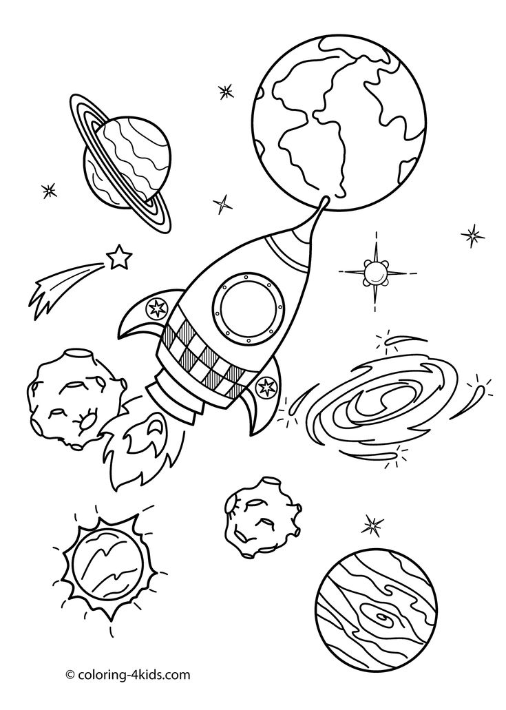 Space coloring pages for kids with rocket, printable free ...