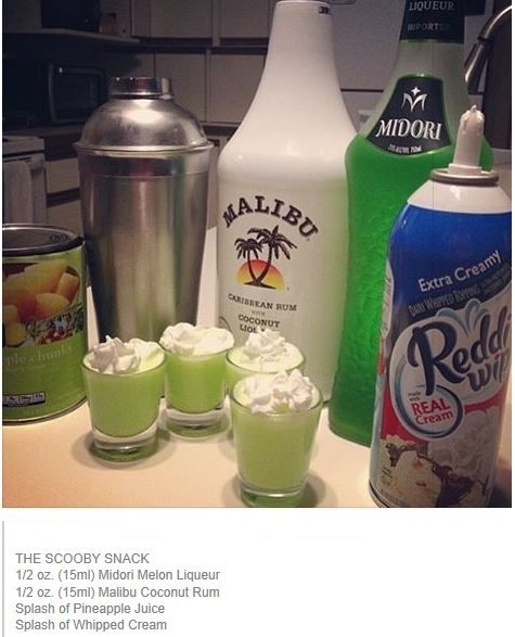 Scooby Snack Shots, I would make it as a drink over ice. Some recipes have added banana liquor, that sounds even better ;)