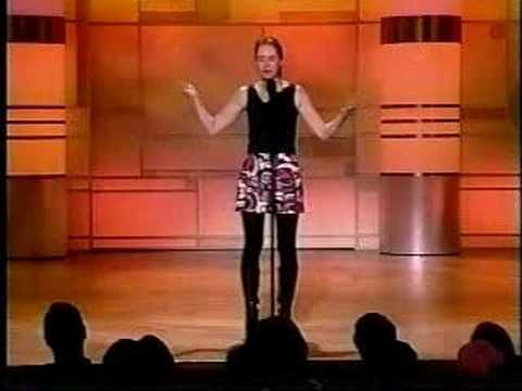 This is a performance by the Canadian comedian Laurie Elliott.  I saw her on Muchmusic's video on trial and instantly fell in love with her sense of humor (and a little bit with her :)    We all have our differences, but we can all appreciate good humor.  Peace and love to you all :)