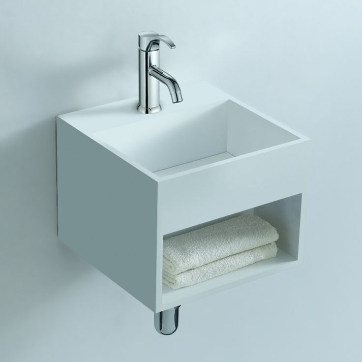 Soakology Ice 325mm S-Cast Solid Surface Wash Basin - In-built Shelf