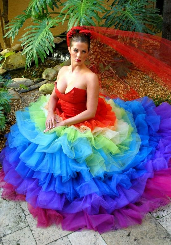 39 best rainbow wedding dress images on pinterest bright color amazing rainbow wedding dress httpcasualweddingdressesrainbow wedding junglespirit Image collections