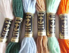 6 x Anchor Tapestry Wool 10m skeins for needlepoint - assortment of colours