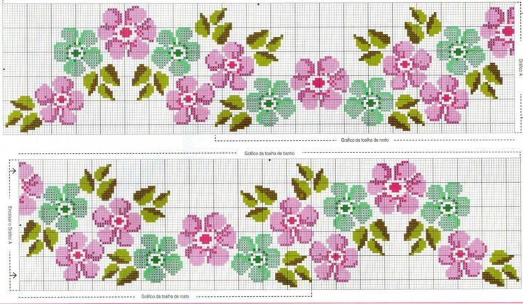 Cross-stitch Floral Border... no color chart, just use pattern chart colors as your guide.. or choose your own colors... ... ENCANTOS EM PONTO CRUZ: Flores