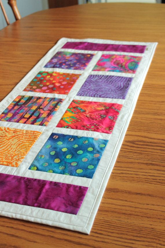 Patchwork Batik Table Runner Mini Quilt by CraftsByKrysta on Etsy, $40.00
