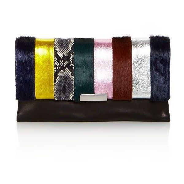Loeffler Randall Tab Calf Hair and Leather Clutch - 100% Exclusive ($420) ❤ liked on Polyvore featuring bags, handbags, clutches, striped purse, metallic leather purse, embossed handbags, leather purses and real leather handbags