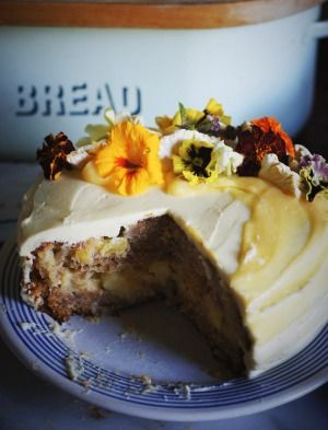 Hummingbird cake with pineapple curd and crème fraiche frosting