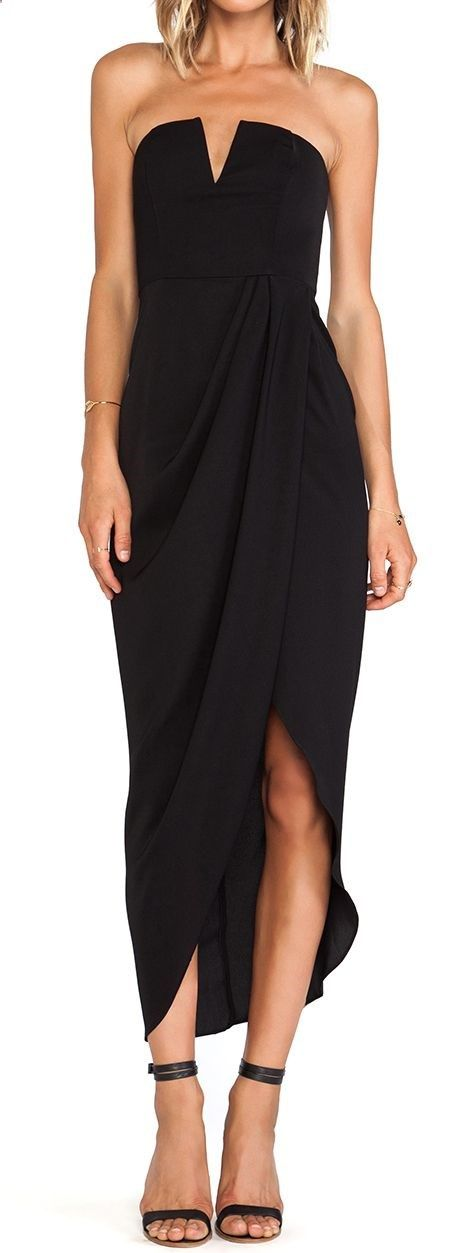Another perfect LBD for curvy women- hides the muffin top with its drape design.