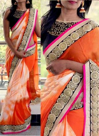 Orange Black Embroidery Sequin Work Sibori Print Georgette Designer Sarees http://www.angelnx.com/featuredproduct