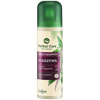FARMONA Herbal Care, Suchy szampon z pokrzywą, 150 ml Błyskawicznie odświeża przetłuszczone włosy pomiędzy kolejnymi myciami