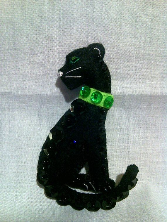 Felt Panther Brooch  Felt Jewellery  by CarrotTopsCharacters
