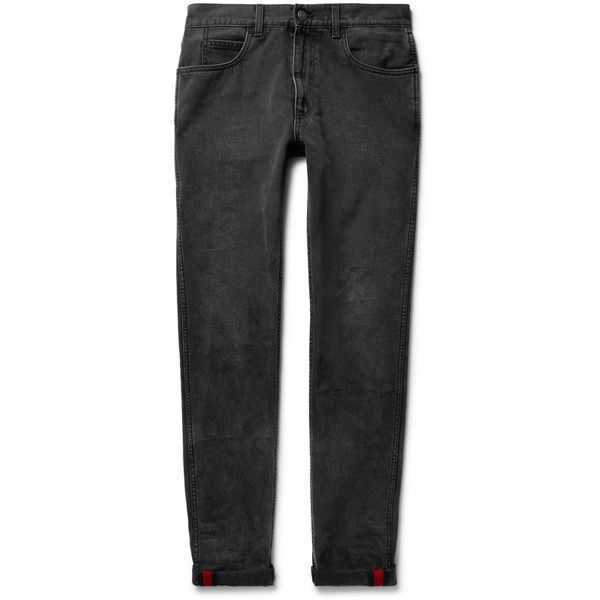 Gucci Slim-Fit Washed-Denim Jeans ($530) ❤ liked on Polyvore featuring men's fashion, men's clothing, men's jeans, mens cuffed jeans, mens slim cut jeans, mens slim jeans, mens rolled jeans and mens red jeans