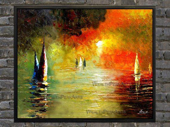 olio su tela, paesaggio marino sunrise dipinto, barche a vela, pittura, spatola, dipinto di Enxu.Zhou,framed,ready da appendere, enorme 36 '