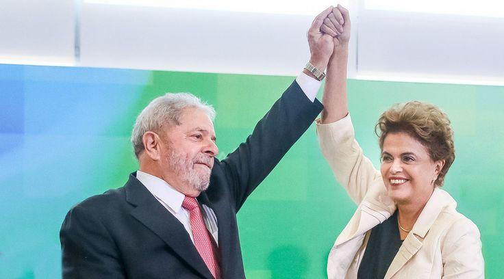 Brazil's Rousseff ousted by media boycott, conspiring businessmen – ex-president Lula to RT  http://pronewsonline.com  Dilma Rousseff (R) greets Brazil's former president Luiz Inacio Lula da Silva. © Roberto Stuckert Filho