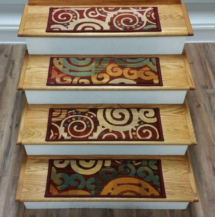 "Rug Depot 13 Contemporary Carpet Stair Treads 26"" x 9"" Staircase Rugs Multi Poly #RugDepot #Contemporary"