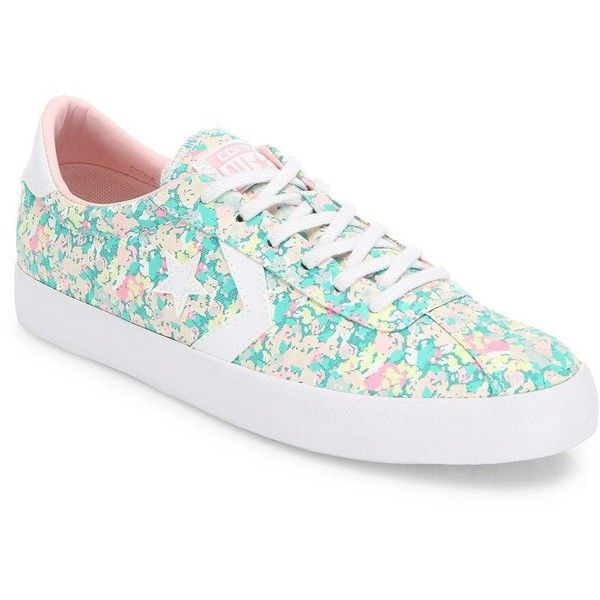 Converse Breakpoint Floral-Print Sneakers ($65) ❤ liked on Polyvore featuring shoes, sneakers, apparel & accessories, round cap, lacing sneakers, converse shoes, floral shoes and low top