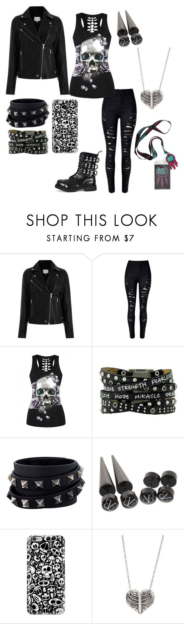 """""""Untitled #433"""" by alexandria-wolf-palayeroyale ❤ liked on Polyvore featuring WithChic, Valentino, Hot Topic and Casetify"""