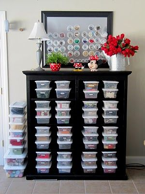 Love this! The clear shoe bins and the sheet metal framed, but the best are that the magnetized containers on the sheet metal are those little plastic Solo containers with lids like you get for take-home at a restaurant! Just hot glue magnets to the back.