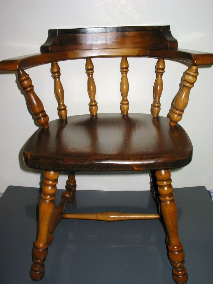 Vintage Ethan Allen Wood Antiqued Pine Old Tavern Dining Student Chair 12 6001 Student Pine