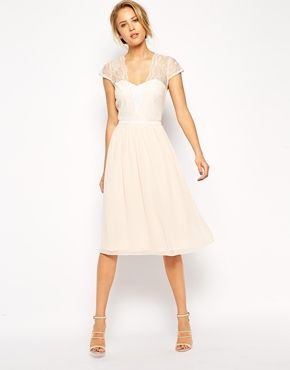 ASOS Scallop Lace Edge Midi Dress
