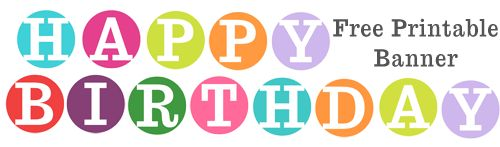 Free printable happy birthday banner featuring 4 inch circles in a bright and fun colors. Print and DIY your own party banner. Get the look you've been seeing all over the net on party planni…
