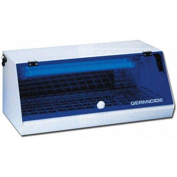 Questa sterilizzatrice presenta all'interno una lampada germicida a raggi ultravioletti che distrugge rapidamente ogni microrganismo mantenendo cosi sterili gli strumenti che vengono conservati al interno (il trattamento con raggi UV non genera calore).