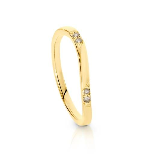 Dreamtime 9ct Yellow Gold Diamond Wave Stacker