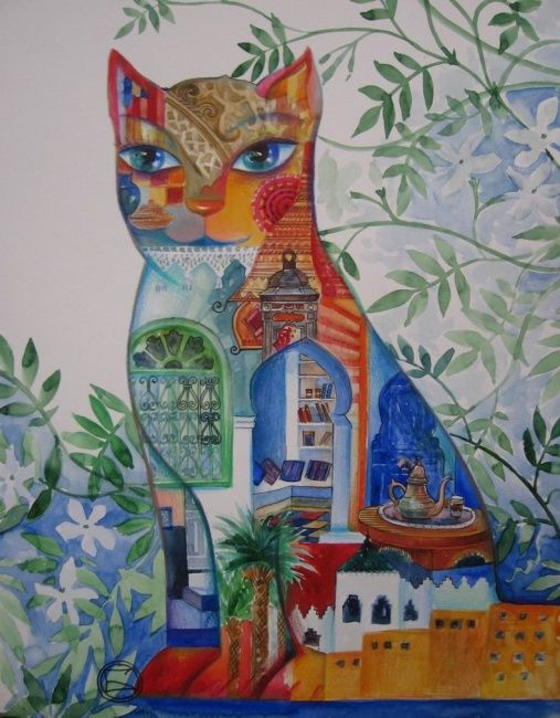 CHAT DU MAROC - Painting,  41x32 cm ©2007 von Oxana Zaika -  Malerei