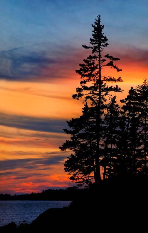 Hermosas pinceladas naranjas sobre el cielo azul adornan el atardecer en la Isla Deer en Maine