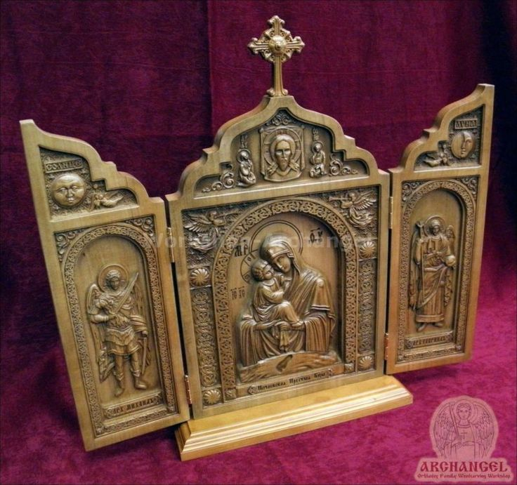 Carved Triptych ICON MOTHER OF GOD of POCHAEV,Michael Gabriel Archangels