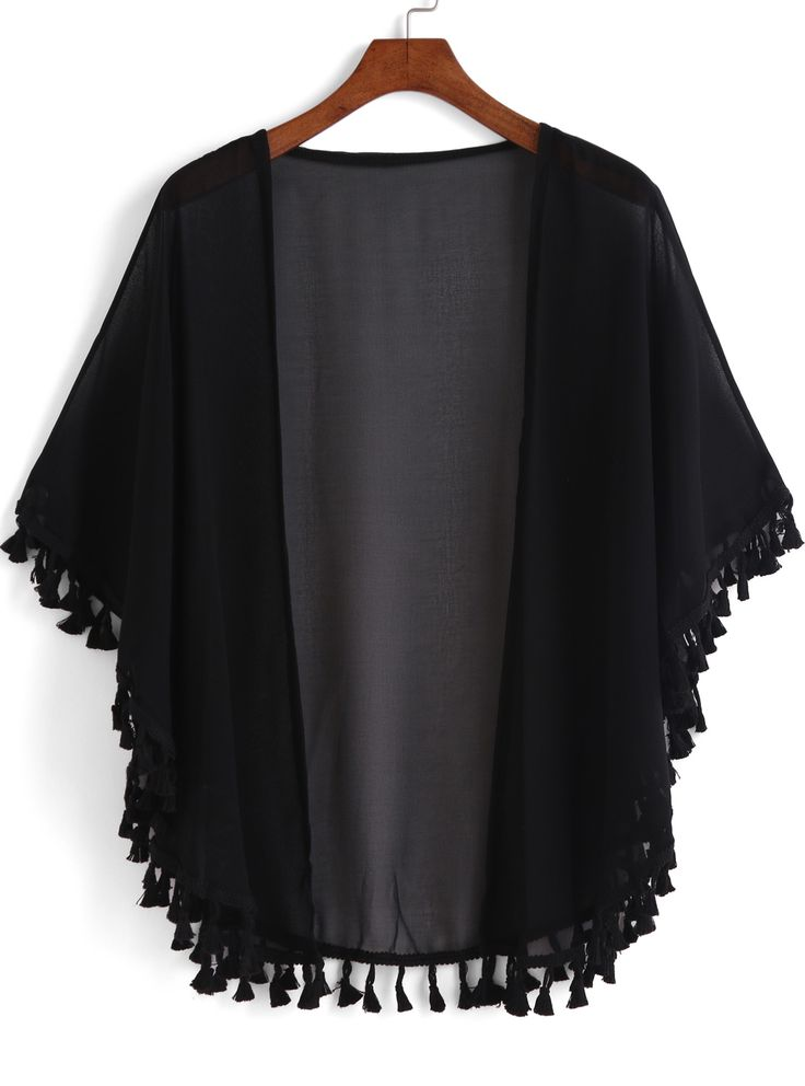 Kimono casual flecos suelto -negro-Spanish SheIn(Sheinside)