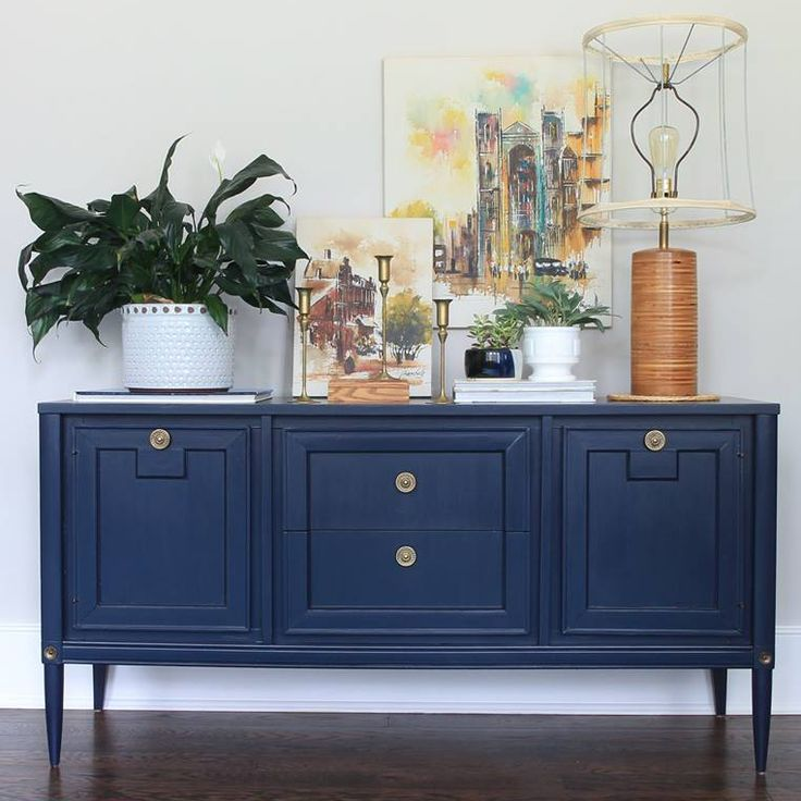 Stunning Mid Century Modern console refinished in GF Coastal Blue Milk Paint by Green Spruce Designs!