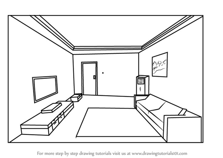 Learn How to Draw One Point Perspective Room (One Point