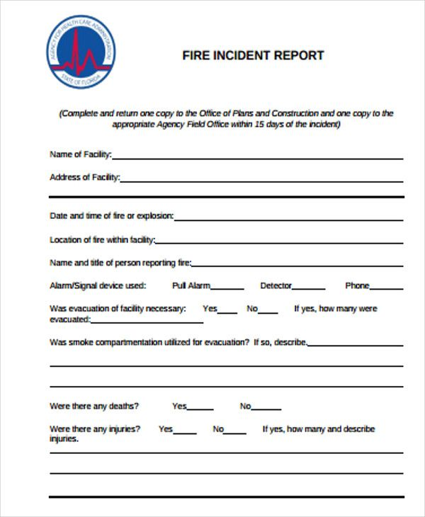 construction incident report templates free word pdf format fire – Fire Incident Report