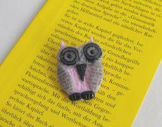 Wise owl2 - polymer clay brooch,brosa argila polimerica,unicat