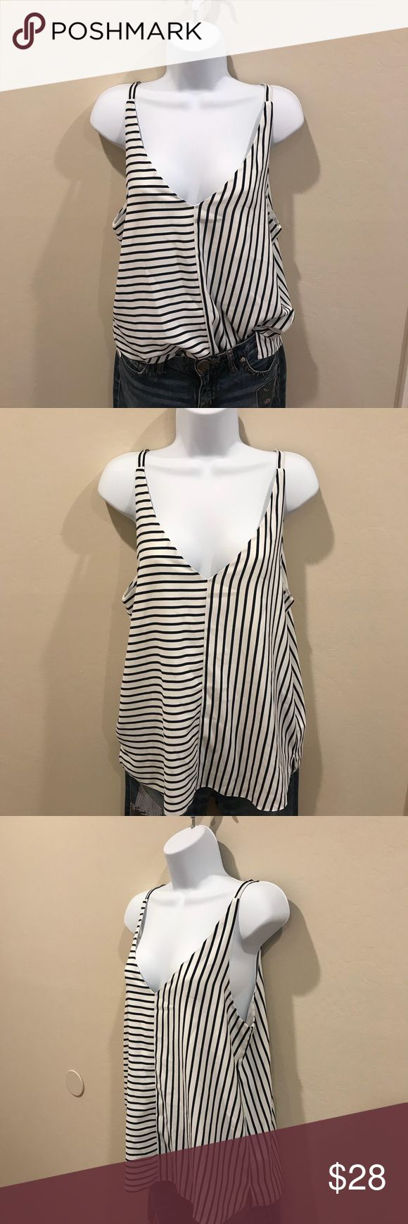 NWT Topshop navy striped cami Super chic navy striped cami mixed with horizontal and very wild lines. Crisscross v on the back. Side slits on the bottom hem. Versatile and goes with any outfit. No stains or rips. Measurements in the last picture. Topshop Tops Camisoles