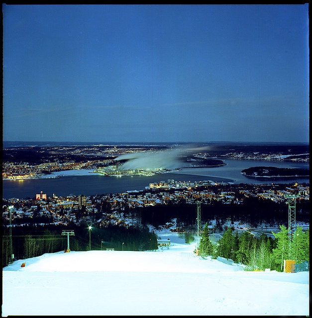 Part of Sundsvall as seen from the ski slope on south mountain. In the centre is Ortviken paper mill.