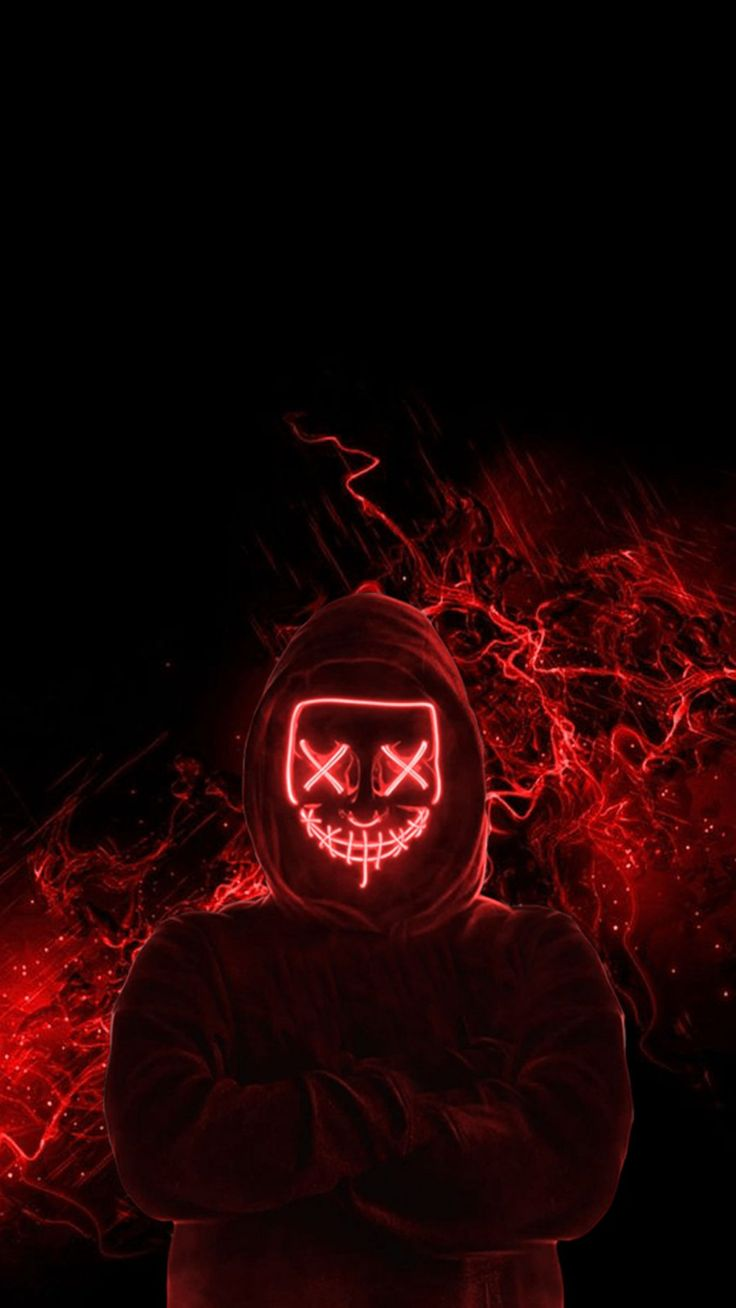 Red Neon Mask iPhone Wallpaper in 2020   Wallpaper iphone ...