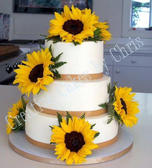 Sunflower Wedding Cake Ideas: Wedding Cakes With Sunflower Decoration