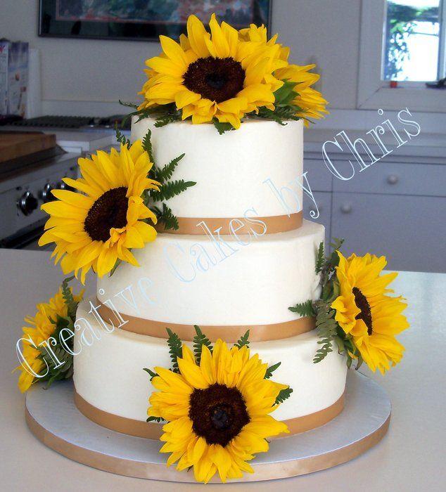 wedding cakes with sunflower decoration | Sunflower Wedding - by creativecakesbychris @ CakesDecor.com - cake ...