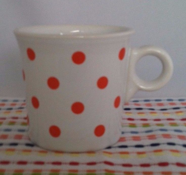 Fiesta Ring Handled Mug White w/ Poppy Polka Dots Fiestaware Outlet Exclusive #Fiestaware